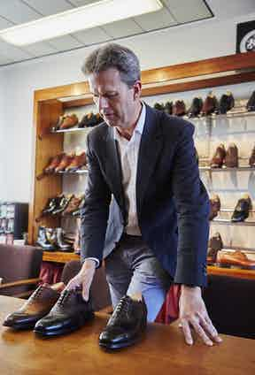 William Church, Managing Director of Cheaney, in the showroom at the factory in Desborough.