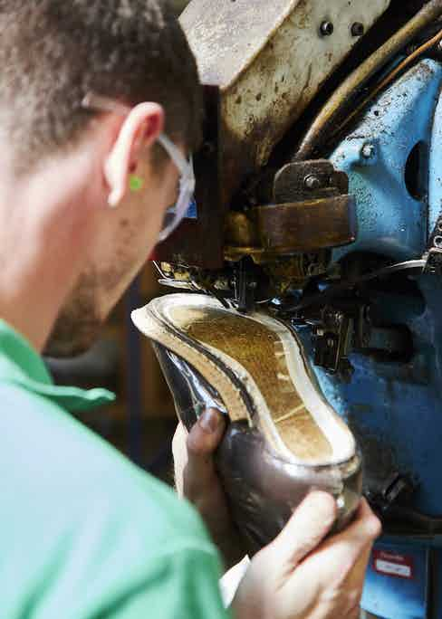 The Goodyear-welt is closed through the sole which requires excellent hand-to-eye coordination so to operate the machine. Photo by James Munro.