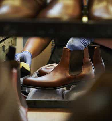 Cheaney's Threadneedle model of the iconic Chelsea boot goes through some final layers of hand burnishing to give it its wonderful patina.