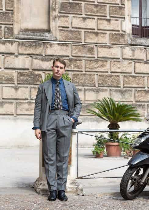 The double-breasted jacket can be worn three ways: more formally as a 6x2; with lapel roll as a 6x1; or unbuttoned to reveal the double pleats and cummerbund waistband. Photograph by Shaun Darwood.