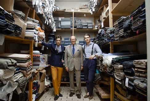 Riccardo Zambon, The Rake's Head of Business Development, Mariano Rubinacci and Benedict Browne, Associate Style Editor, in the Rubinacci vault. Photograph by Shaun Darwood.