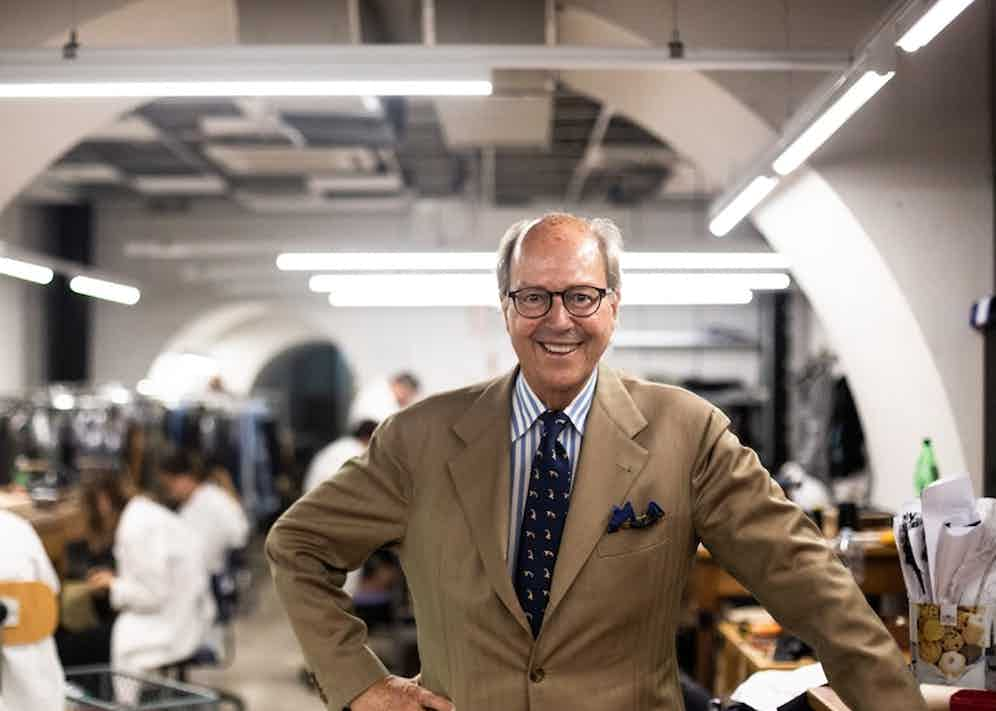 Mariano Rubinacci proudly poses on the cutting-room floor. Photograph by Shaun Darwood.