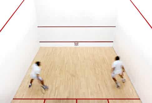 The pristine squash courts.
