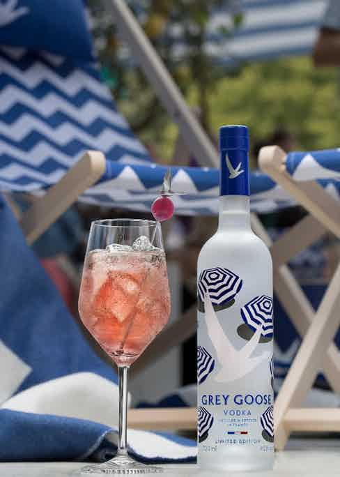 """La Croisette, made with Grey Goose La Poire, fresh lime juice and """"Cotes de Provence Rosé"""" syrup is a refreshing and fragrant tipple."""