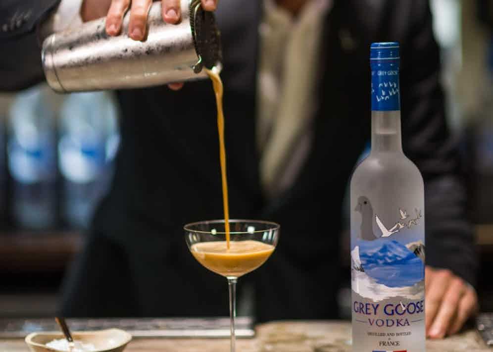 Pouring the perfect espresso martini.