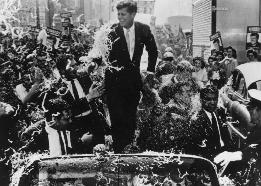Senator Kennedy at a parade during his presidential campaign, 1960 (Photo by Keystone/Getty Images)