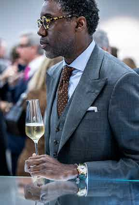 The evening witnessed some excellent marriages of fine watches and style, not least this gentleman's polished ensemble.