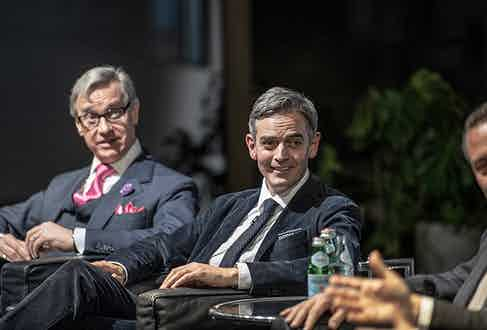 Paul Feig and Toby Bateman, Mr Porter's managing director look on with amusement as The Rake founder Wei Koh discusses his rather pragmatic use for a Rolex on a desert island (note: it involves opening coconuts).