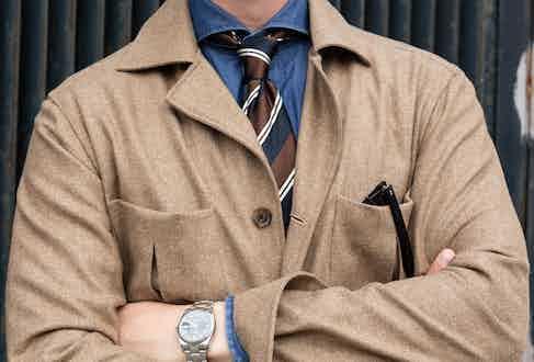 Beige wool safari jacket, worn with Drake's denim shirt and Biggi Cravatte tie. Photography by Shaun Darwood.