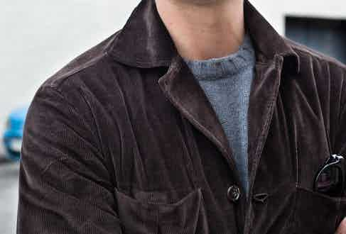 Brown cotton corduroy jacket, worn with a grey rollneck from Doppia. Photography by Shaun Darwood.