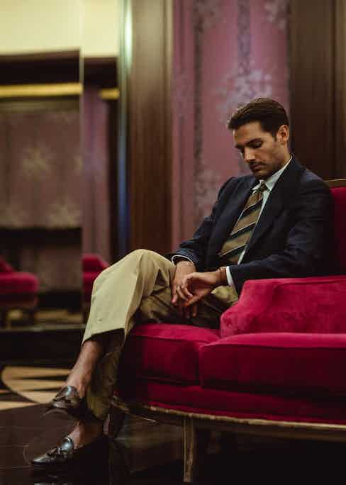 IGN Joseph button-down shirt, vintage jacket, tie and trousers from Broadway & Sons. Photo by Milad Abedi.