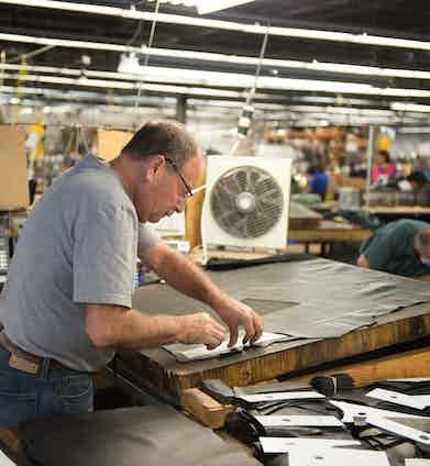 Each part of a Schott jacket, bar the belts and small pieces, is cut entirely by hand.