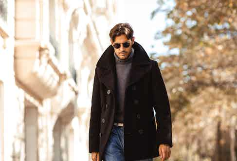 Schott NYC peacoat, Doppiaa grey rollneck, jeans from Broadway & Sons. Photo by Milad Abedi.