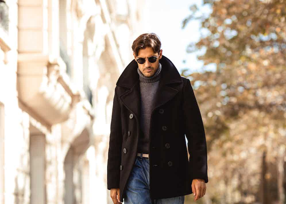 Nathaniel Asseraf wearing Schott's Peacoat in Paris. Photograph by Milad Abedi.