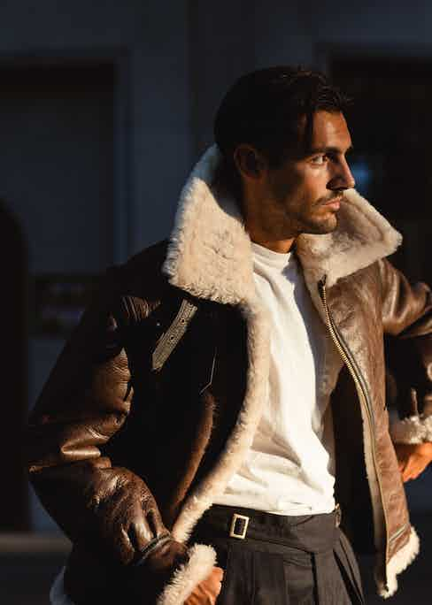 Nathaniel Asseraf wearing the B-3 flight jacket. Photograph by Milad Abedi.
