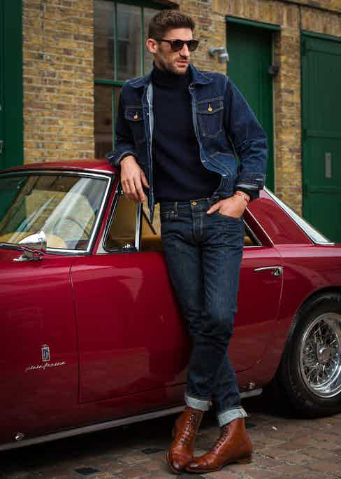 Dark blue denim jacket and Dark blue Japanese Selvedge Jeans, The Workers Club; Navvy merino roll neck, Anderson & Sheppard; Burgundy Utah & Delapré Galway boots with dainite soles, Edwards Green; 24H Le Mans edition bracelet on red cord, The Mechanist; Harvey Tortoiseshell Sunglasses; Kirk Original.
