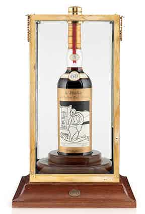 The Valerio Adami bottle of 1926 The Macallan in its presentation case.