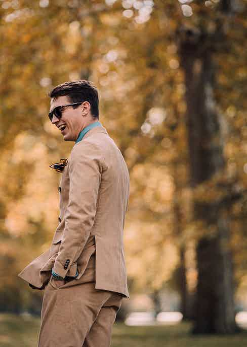 Corduroy is more commonly associated with a neutral palette of cream, beige and brown, perfect for autumnal days.