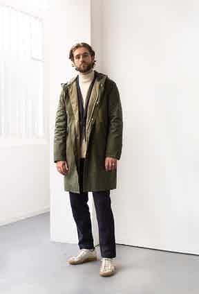 De Bonne Facture's parka coat in a water-repellent organic cotton Ventile makes for stylish yet practical wet weather dressing.