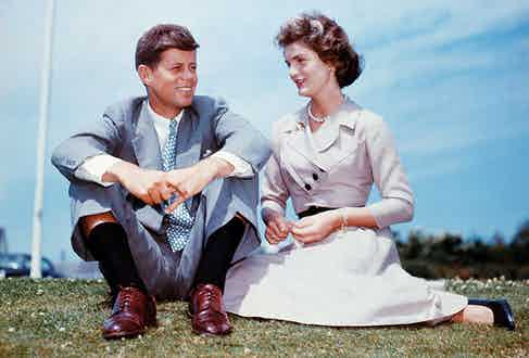 With Jackie at the Kennedy's family home in Hyannis Port, Massachusetts, a few months before their wedding.