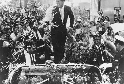 Senator Kennedy at a parade during his presidential campaign, 1960.