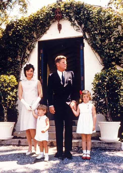 Kennedy with his wife Jackie and their children, Caroline and John Jr. on Easter Sunday in Miami, 1963.