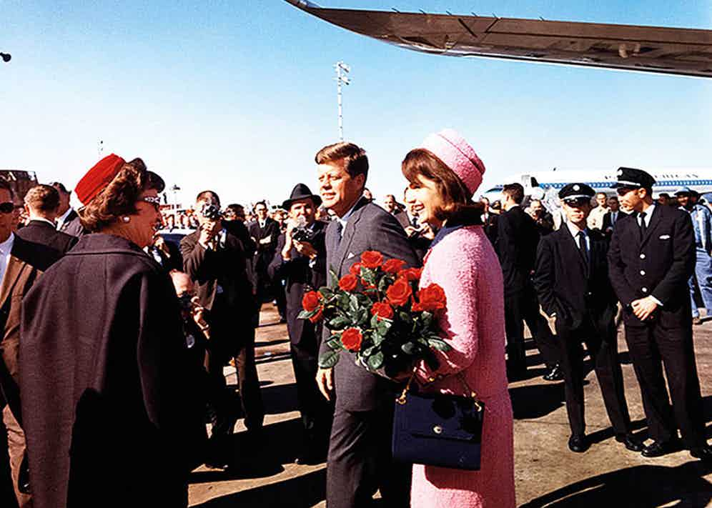 Mr. and Mrs. Kennedy arrive in Dallas on the day of his assassination, 1963.