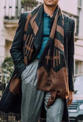 The Aleksander trousers have deep, forward-facing pleats. Photograph by Jamie Ferguson.