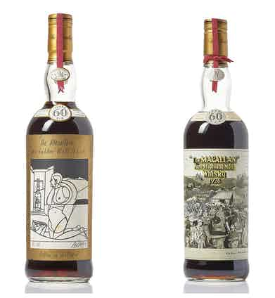 The Sir Peter Blake and Valerio Adami 1926 bottles side-by-side present a mouthwatering prospect for whisky investors.