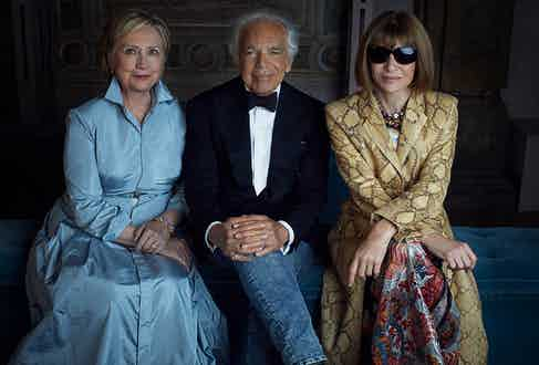 Ralph Lauren with Hillary Clinton and Anna Wintour at the house's 50th anniversary show in New York, 2018.
