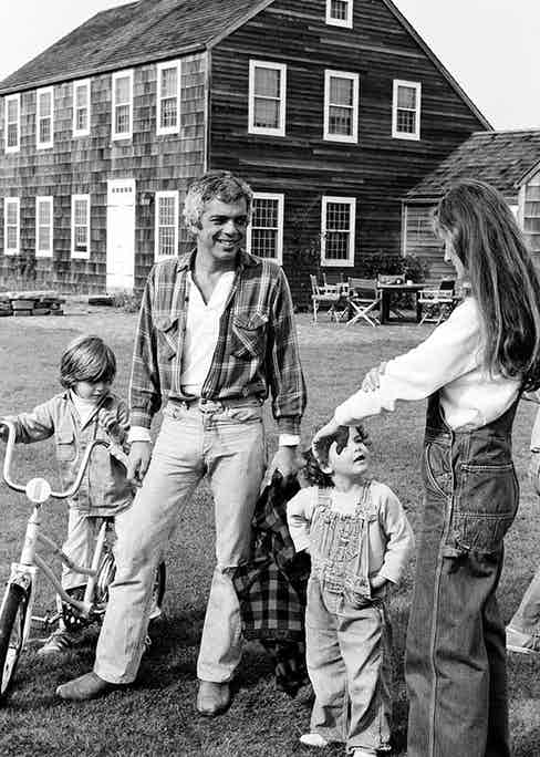 Ralph and Ricky Lauren with their children in East Hampton, New York, 1977.