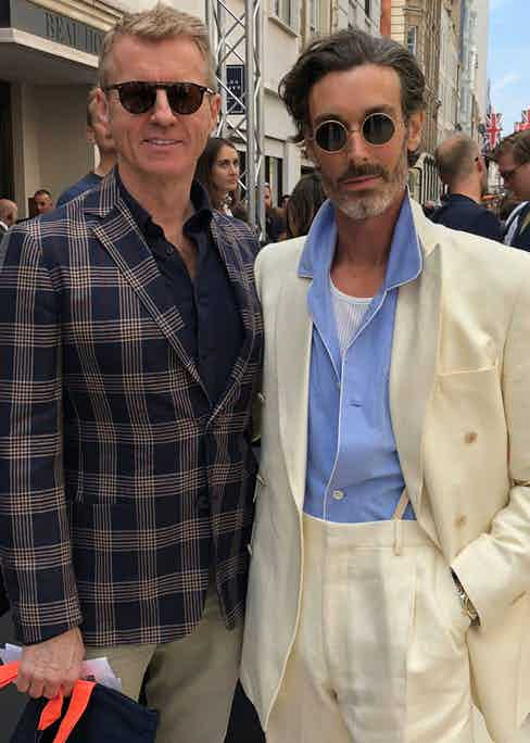 Simon Maloney with model Richard Biedul, who wears a New & Lingwood suit.