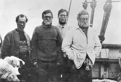 1909: Irish explorer Sir Ernest Henry Shackleton, in the southern party on board the vessel 'Nimrod', on their return voyage from the British Antarctic Expedition 1907–09 after reaching a point 97 miles from the South Pole, a record at the time. (Photo by Spencer Arnold/Getty Images)