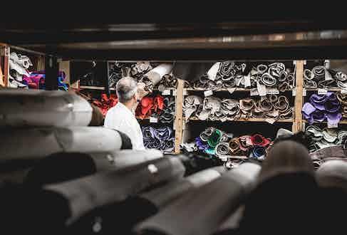 Inside the Maison's atelier, full of exotic skins and calfskins.