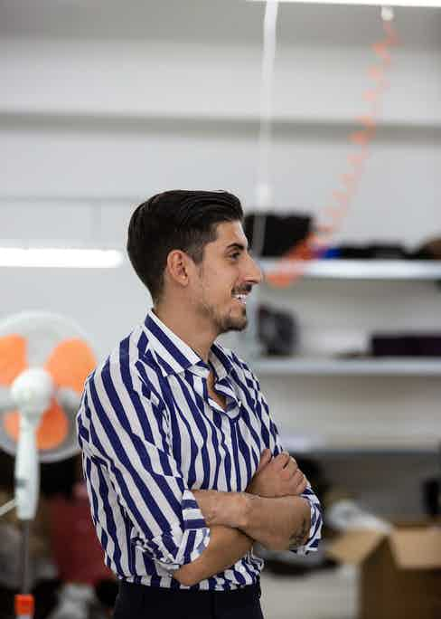 Alessio Sannino in his family's workshop. Photo by Shaun Darwood.
