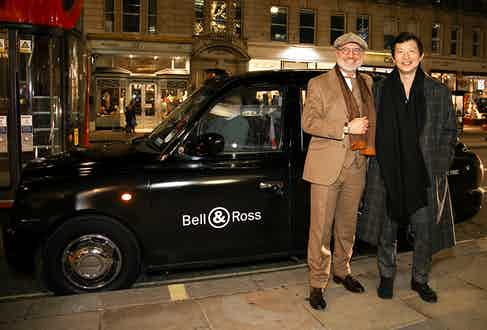 Wei Koh and Carlos A. Rosillo arrive at the exclusive launch of the The Rake x Revolution x Bell & Ross Bellytanker watches.