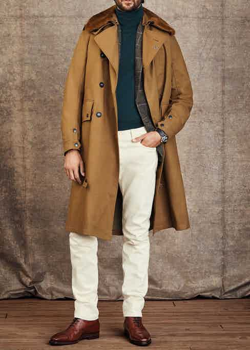 Goodwood: Coat by Grenfell, Roll neck by Anderson & Sheppard, Jacket by Walker Slater, Trousers by Anderson & Sheppard, Boots by Gaziano & Girling; Watch is a rare Tag Heuer 1966 chronograph with contrasting subdials in stainless steel.