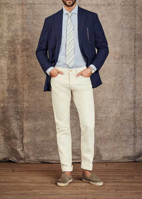 The Hamptons: Jacket by Rubinacci; Shirt by Marol; Tie by Fumagalli 1891; Espadrilles by Manebi; Watch is a Patek Philippe 1955 with enamel dial in yellow gold.