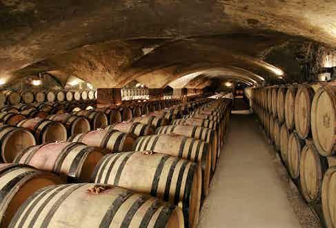 The cave de vin in the Chateau de Meursault.