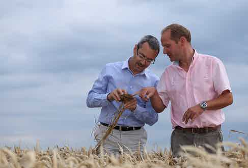 François with Marc Egret, one of the wheat farmers in Picardy.