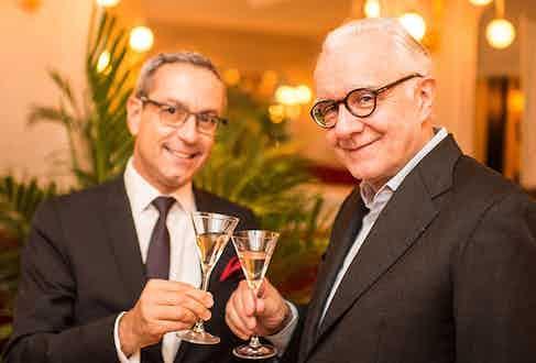 François drinking Grey Goose with Michelin star chef Alain Ducasse.