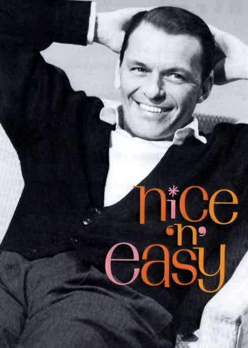 Frank Sinatra wears a cardigan and shirt on the cover of Nice 'n' Easy, 1960.