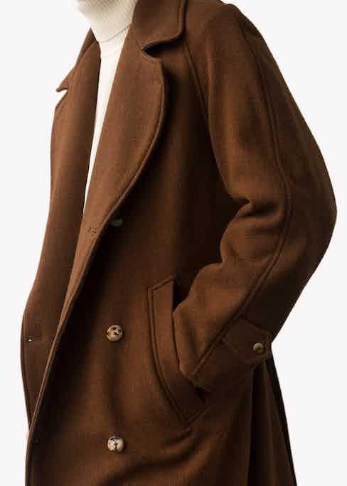 Chestnut wool trenchcoat.