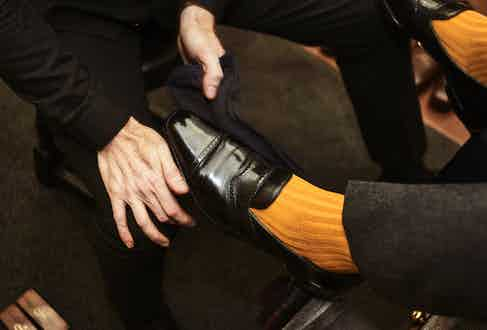 The Rake's Editor Tom Chamberlin sports socks by London Sock Company and shoes by George Cleverley.