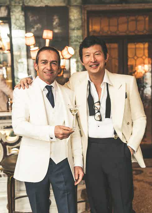 Wei wears: Cream flannel double-breasted jacket, Edward Sexton; White cotton evening shirt with bib and onyx studs and black wool and mohair evening trousers, both Gieves & Hawkes; Black silk bow tie, Turnbull & Asser; L.U.C 1860 limited edition watch, Chopard.
