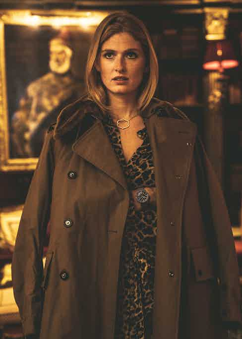 Eleonor wears olive shearling jacket and olive corduroy trousers both, Jour-né