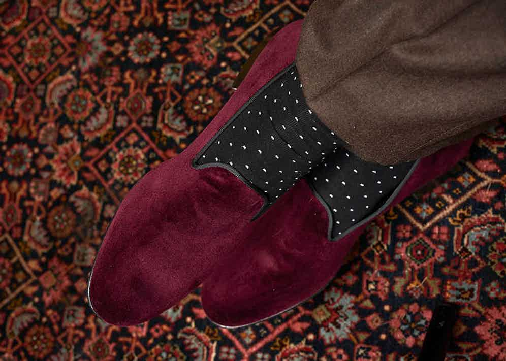 London Sock Company socks paired with Edward Green slippers.