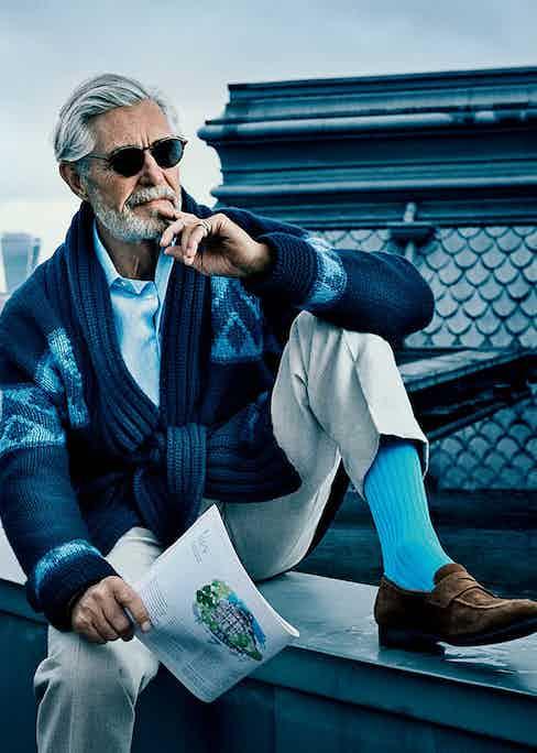 Bernard Fouquet wears turquoise cotton socks by London Sock Company.