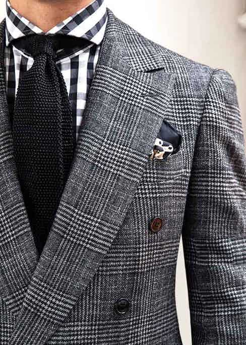 """Cifonelli's """"Metropolis"""" Prince of Wales bespoke flannel suit, designed exclusively for The Rake."""