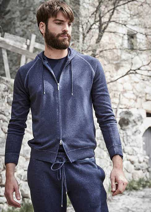 A Gran Sasso garment makes for a sophisticated addition to a casual ensemble.